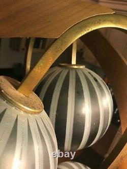 Vintage Mid Century Modern Atomic Teak Majestic Lamp Pair