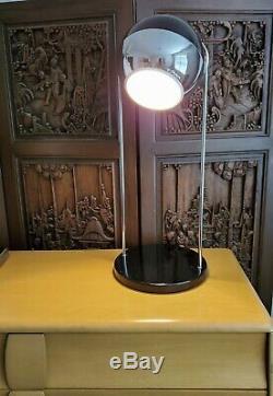 Vintage Mid Century Modern Black + Chrome Eyeball Atomic Desk Table Lamp Light