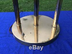 Vintage Mid Century Modern Brass Circle Hoop Atomic Ball Shade Table Lamp Light