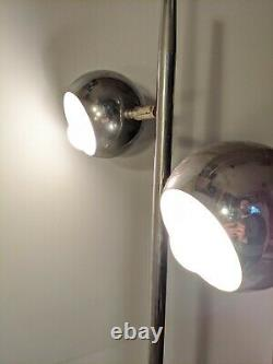 Vintage Mid Century Modern Chrome Dome Silver Dual(2) Light Retro Floor Lamp