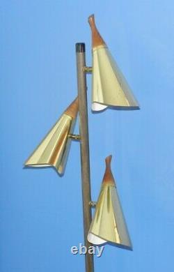 Vintage Mid Century Modern Danish Floor Pole Light Lamp Brass