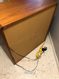 Vintage Mid Century Modern Display Lighted Cabinet Made In Norway