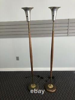 Vintage Mid Century Modern FLOOR LAMP PAIR wood pole danish light atomic 50s 60s