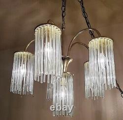 Vintage Mid Century Modern Glass Tube Rod Chandelier Gaetano Sciolari 6 Light