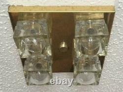 Vintage Mid Century Modern Italian Sciolari CUBE Flush Brass 4 Light Chandelier
