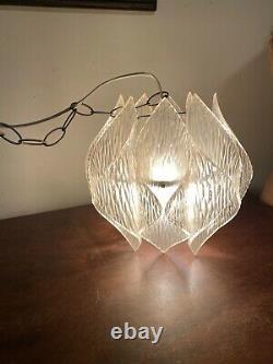 Vintage Mid Century Modern Kalmar Lucite Pendant Light Chandelier Folded Acrylic