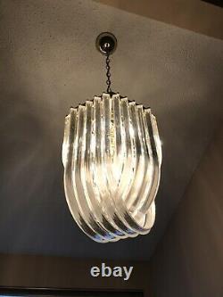 Vintage Mid Century Modern LUCITE RIBBON Banded Chandelier Carlo Nason 10 Light