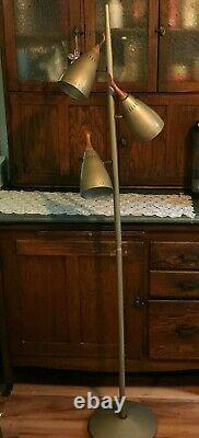 Vintage Mid Century Modern MCM Floor Pole Light Lamp Beige Metal Teak 3 Socket