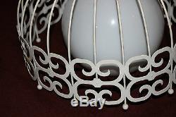 Vintage Mid Century Modern Metal Chandelier Light Fixture-Bird Cage Design-Large
