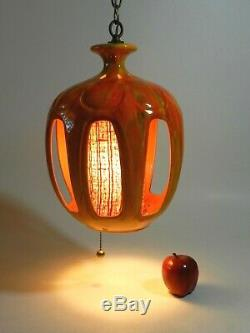Vintage Mid Century Modern Orange Swag Light Hanging Lamp
