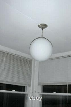 Vintage Mid Century Modern Pendant Light Round MilkGlass Globe Moon