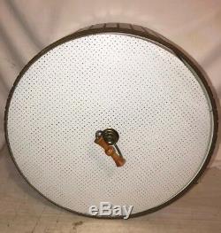 Vintage Mid Century Modern Pull Down Teak Drum Light