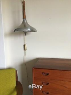 Vintage Mid Century Modern Retractable Light Fixture Atomic Wall Mount