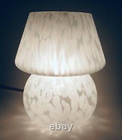 Vintage Mid Century Modern Speckled Mushroom Glass Table Lamp Light MCM