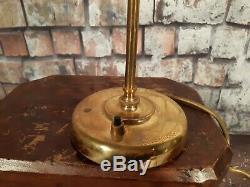 Vintage Mid Century OMI Brass Adjustable Bankers Table Desk Side Lamp Light