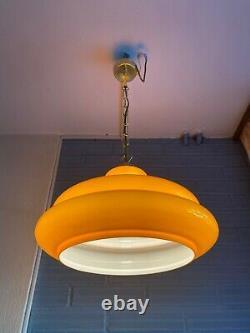 Vintage Mid Century Pendant Space Age Lamp Eyeball Atomic Design Light Glass