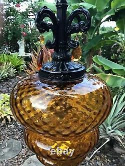 Vintage Mid Century Retro Glass Amber Hanging Swag Light/Lamp