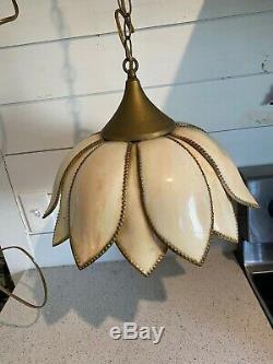 Vintage Mid Century Slag Glass Tulip Lotus Flower Hanging Light Chandelier
