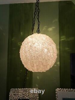 Vintage Mid Century Spaghetti Hanging Swag Lamp Light Globe Lucite Clear White