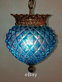 Vintage Mid Century Turquoise Saphiret Glass Hanging Ceiling Fixture Light #1