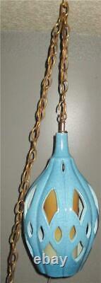 Vintage Mid Century Turquoise Swag Light Pottery Ceramic Atomic Space Age Retro