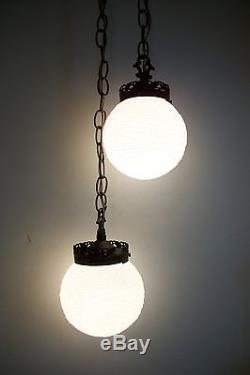 Vintage Mid Century Virden Swag Light Fixture Hanging Pendant Double Globe Retro