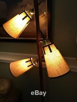 Vintage Mid-century Modern Tension Pole Lamp 3 Lights 3 Switch Positions Working