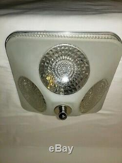 Vintage Mid century modern Ceiling Light Fixture Reflector Lens Flush Mount