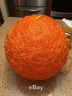 Vintage MidCentury Orange Lucite Spun Resin Pendant Lamp Light Spaghetti Shade