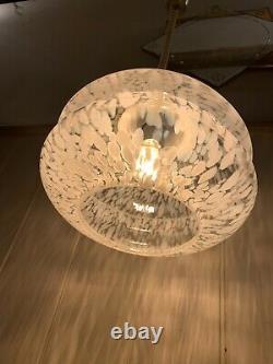 Vintage Murano Glass Pendant Light, Mottled White Shade, Aluminium Mid Century