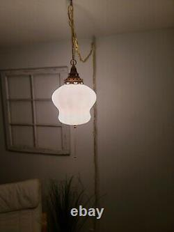 Vintage Opalescent Swag Light Mid Century White Hanging Pendant Lamp Pull String