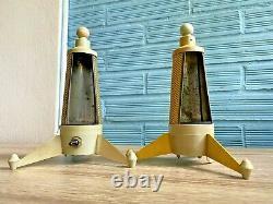 Vintage Pair of Table Space Age Rocket UFO Lamp Atomic Design Light Mid Century