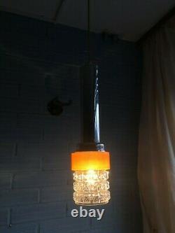Vintage Pendant Mid Century Space Age Lamp Ceiling Atomic Design Light Metal