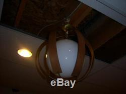 Vintage Rare 1960's MID Century Danish Teak Surround Globe Ceiling Light