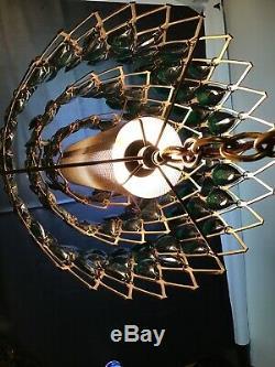 Vintage Retro Mid-Century Lucite Acrylic Lattice Prism Swag Lamp Light 60's-70's