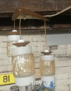 Vintage Retro Mid Century Teak Danish Style Pendant Ceiling Light Fitting Triple