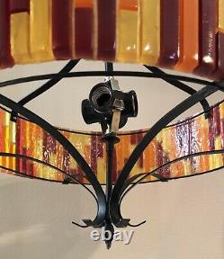 Vintage Retro Orange Yellow Red Lucite Moe Swag Gothic Hanging Light Lamp