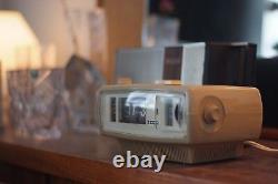 Vintage Sanyo Space Age, Mid Century Rare Flip Clock and Radio, light brown rare