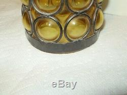 Vintage Spanish Revival MID Century Amber Bubble Glass Hanging Light! #1698