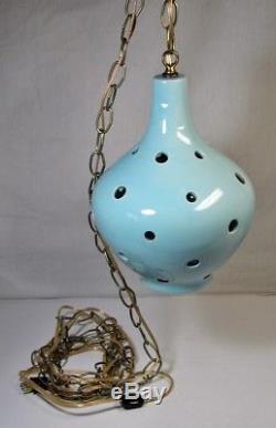Vintage Swag Lamp Mid Century Atomic Hanging Light Pierced