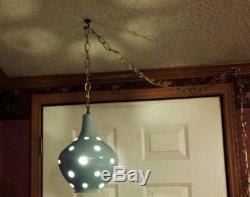 Vintage Swag Lamp Mid Century Atomic Hanging Light Pierced Ceramic Pottery Globe