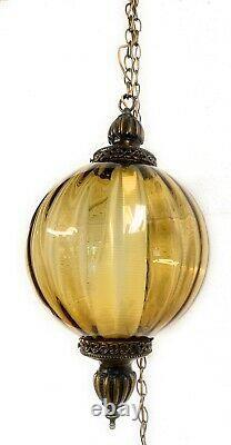 Vintage Swag Mid-Century Modern Glass Ball Hanging Lamp 21 Tall 12 Diameter