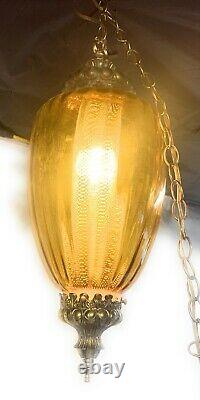 Vintage Swag Mid-Century Modern Glass Ball Hanging Lamp Tall 18
