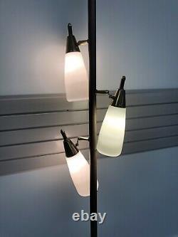 Vintage TENSION POLE FLOOR LAMP mid century modern light atomic retro gold 1950s