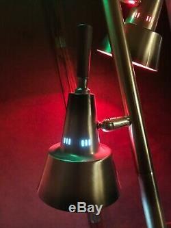 Vintage TENSION POLE FLOOR LAMP mid century modern light gold Teak 3 Way 50s 60s