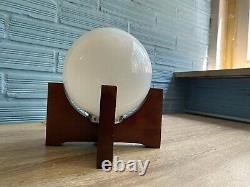 Vintage Table Space Age UFO Cubist Wood Lamp Atomic Design Light Mid Century
