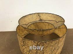 Vintage Two Tier Lamp Shade fiberglass light 50s round mid century modern beige