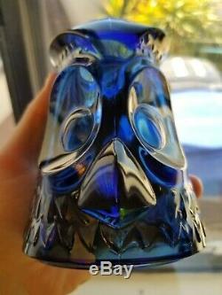 Vintage Viking Glass Owl DARK BLUE Fairy Candle Tea Light Lamp Mid Century RARE