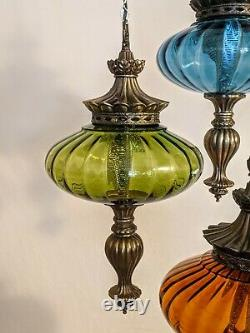 Vintage Vtg Mid Century Modern Hollywood Regency Hanging Swag Lamp Ceiling Light
