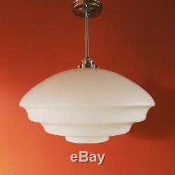 Vintage White Opaline Milk Glass Pendant Hanging Light Czechoslovakia